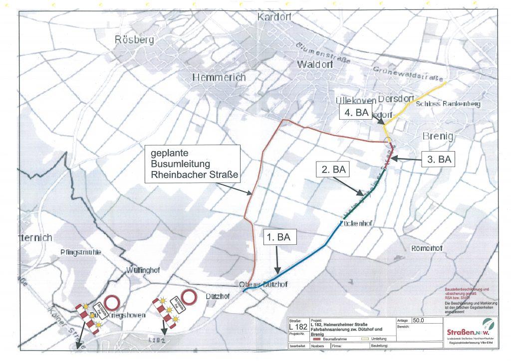 Umleitungsplan während der Sanierung der L 182
